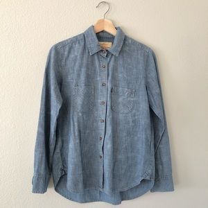 Levi's denim button up with patched on heart